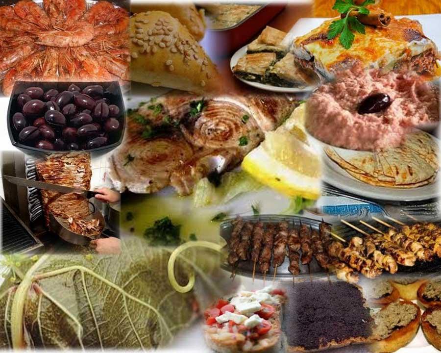 Pita, Olive, Gamberi, Salse